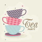 Tea Party Invitation card. Tea Party celebration Invitation card with tea cups and plate vector illustration