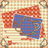 Tea party invitation card cozy scrapbooking contour drawing Royalty Free Stock Photo