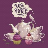 Tea party invitation card with a Cupcake and Pot. Tea party invitation card with a Cups, Cupcake, Bird and Pot  Vector Illustration Stock Photo