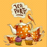 Tea party invitation card with a Cupcake and Pot. Tea party invitation card with a Cups, Cupcake, Bird and Pot  Vector Illustration Stock Images