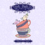 Tea party invitation card with cups and birds. Tea party invitation card template vector illustration with cups and birds Royalty Free Stock Photos