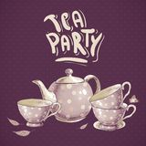 Tea party invitation card with a Cups and Pot Royalty Free Stock Photos