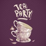 Tea party invitation card with a Cups and Pot Royalty Free Stock Image