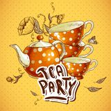 Tea party invitation card with a Cups and Pot. Vector Illustration Royalty Free Stock Photo
