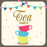 Tea party invitation card design. Stock Images