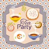 Tea party invitation card. Frame over pattern background Royalty Free Stock Photos