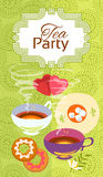 Tea party invitation card. Frame on pattern background, illustration Stock Images