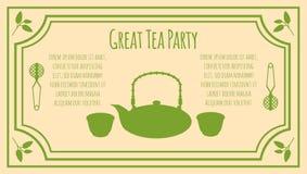 Tea Party Invitation Card Template Royalty Free Stock Photo