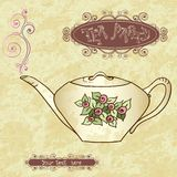 Tea party invitation card template vector. Stock Photography
