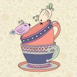 Tea party invitation card template vector Royalty Free Stock Photos