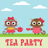 Tea party invitation with cute kitty girls Royalty Free Stock Photography