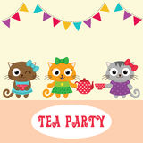 Tea party invitation with cute owls Stock Photo