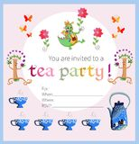 Tea party invitation for kids. Royalty Free Stock Photos