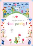Tea party invitation for kids. Cute illustration of fairy land. Royalty Free Stock Image