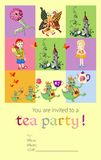 Tea party invitation for kids with fairy creatures Stock Images