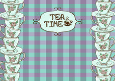 Tea party invitation with teacups Stock Image