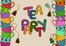 Tea party invitation with teacups Royalty Free Stock Photography