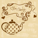 Tea party invitation with teapot Royalty Free Stock Photos