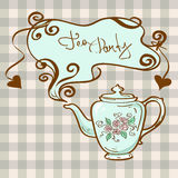 Tea party invitation with teapot Royalty Free Stock Image