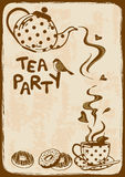 Tea party invitation with teapot and teacup. Vintage tea party invitation with teapot, teacup, saucer, spoon and bird Royalty Free Stock Images