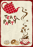 Tea party invitation with teapot and teacup. Vintage tea party invitation with teapot, teacup, saucer, spoon and bird Stock Photo