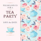 Tea party invitation. Vector tea party invitation with cups and flowers vector illustration