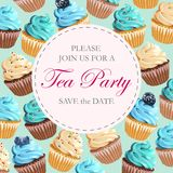 Tea party invitation. Vector invitation to tea party with sweets vector illustration