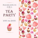 Tea party invitation. Vector invitation to tea party with sweets stock illustration