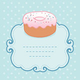 Tea party invitation vintage style frame with donut Stock Photography