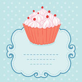 Tea party invitation vintage style frame funny cupcake Stock Photo