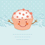 Tea party invitation vintage style frame funny cupcake Stock Photography