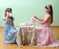 Tea Party. Little Girls Having a Fancy Tea Party Royalty Free Stock Photography