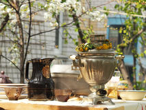 The tea party outdoors in the spring royalty free stock image