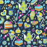 Tea party pattern background Royalty Free Stock Photos