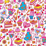 Tea party pattern background Stock Photos