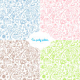 Tea party pattern background Royalty Free Stock Photo