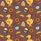 Tea party pattern. Tea party menu food and drinks seamless pattern. Editable vector illustration stock illustration