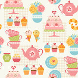 Tea party pattern Stock Photos
