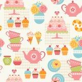 Tea party pattern Stock Photos