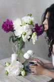 Tea party with peonies Royalty Free Stock Image