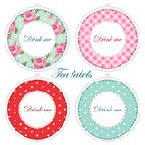 Tea party printables as tea labels,cupcake toppers or tags in shabby chic style