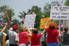 Tea Party Protesters. Concerned citizens protest against government spending stock image