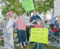 Tea Party Protesters. Concerned citizens peacefully protest against big government spending in Pensacola, Florida Royalty Free Stock Image