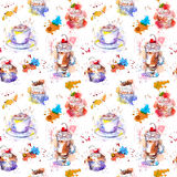 Tea party repeating pattern. Cupcake cakes, tea, coffee cup. Royalty Free Stock Image