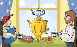 Tea party with samovar in Slavic style Royalty Free Stock Photos