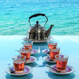 Tea party Sea view cafe in asia. Tea party in Cafe Restaurant on the beach with sea views. Relaxation areas Royalty Free Stock Photo