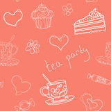 Tea party seamless  doodle vector outline pattern. With tea cups and sweets. For backdrop, textile, scrapbooking Stock Image