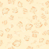 Tea party seamless pattern. Abstract background. With tea cup, tea spoon and cakes.Illustration Stock Image