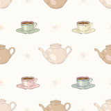 Tea party seamless pattern Royalty Free Stock Images