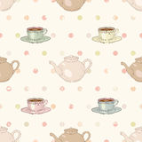Tea party seamless pattern Royalty Free Stock Image